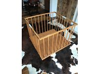 Vintage wooden collapsible playpen