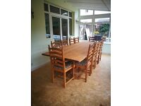 Large oak table and 10 chairs - immaculate condition