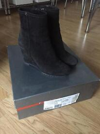 Prada black suede wedge boots Size 37