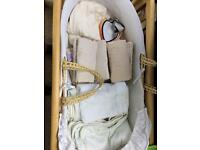 Crib, Moses basket, bumpers, blankets, fitted sheets and bits