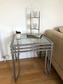 2 glass side tables and 1 coffee table