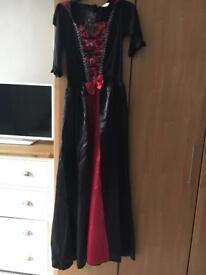 Ladies vampire costume with wig NEW size 12-14