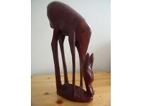 "Large 12"" tall vintage hand carved wooden deer/antelope. £15 ovno."