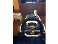 Xbox wireless steering wheel and 9 games