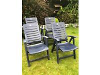 x4 Blue Reclining Garden Chairs