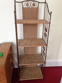 For sale - free standing wicker & wrought iron shelf stand