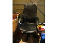 Black office/study chair - leather fronted