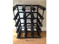 Wine rack storage in wood and metal black