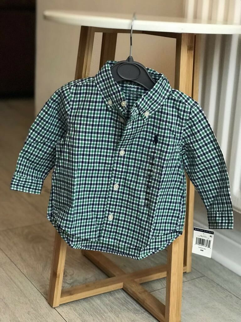Ralph Lauren Green Blue And White Cheque Shirt In