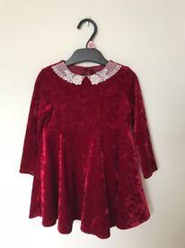 Red girls Christmas dress 18-24mths