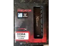 16GB ( 2x8GB Dual Channel ) DDR4 3333Mhz XMP Gaming RAM CL16 HyperX Predator (For Desktop)