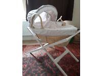 REDUCED. Moses basket and stand. With sheets and matress.