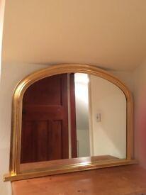 Gold framed overmantle mirror