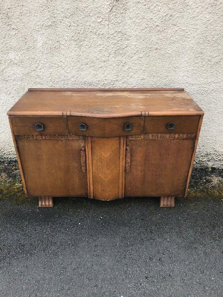 Vintage shabby chic oak side board