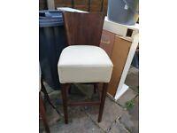 Large stools cream leather and dark wood