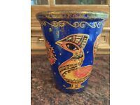 Decorative plant pot, gouache, hand-painted, from craft shop in Bath