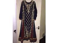 Indian pakistani anarkali floor length salwar kameez partywear dress churidar