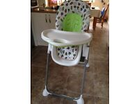 Mothercare high chair (reclining)