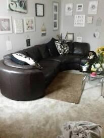 Brown leather sofa 275 ono
