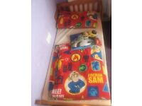 SOLID PINE JUNIOR BED AND BEDDING PAW PATROL FIREMAN SAM