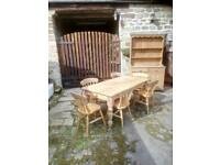 Solid wood farmhouse table and 6chairs.Matching kitchen dresser also for sale.