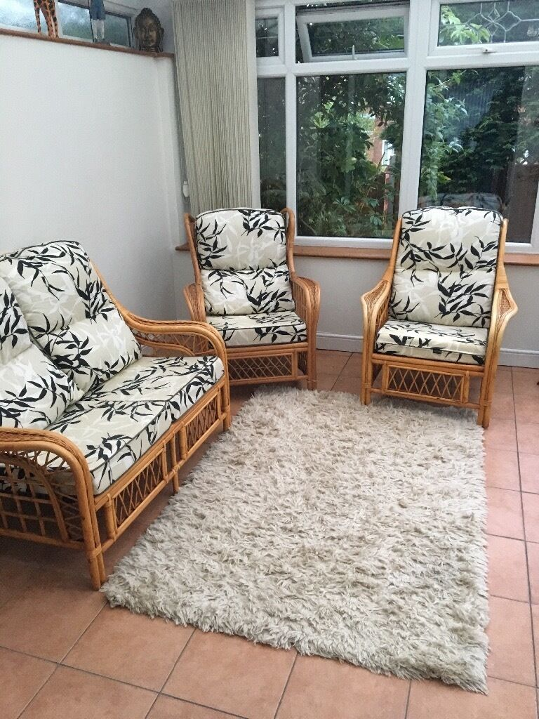 Conservatory furniture 1x two seater and 2 x arm chairs90in Prenton, MerseysideGumtree - Conservatory furniture. X 1 two seater X 2 arm chairs. Barely used since buying new cushions 3 years ago. Some sun damage to underneath cushions but no visible when cushions in place. £90 Ono