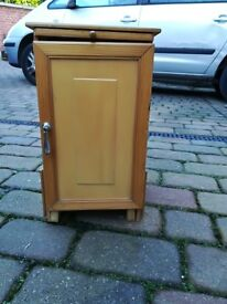 Small Pine Bedside Cabinet With Pull Out Shelf