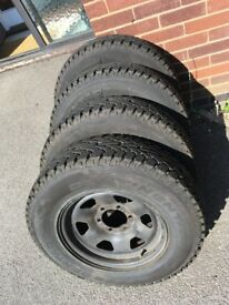 4 x 205/80R 16 Continental A/T tyres on Toyota Hilux Mk3 rims