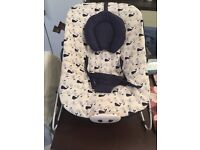 Mothercare blue baby bouncer with lullaby and vibration to ease baby off to sleep