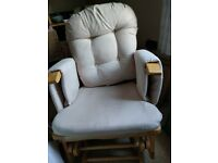 Glider rocking nursing chair with footstool