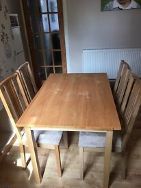 Oak look dining table and 4 chairs set