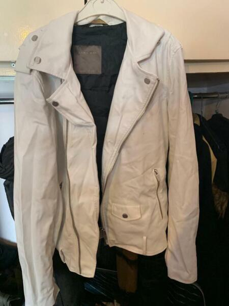 MENS ZARA LEATHER BIKER JACKET WHITE SIZE MEDIUM for sale  Finchley, North London