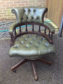 1970's Antique Green Chesterfield Captains Chair