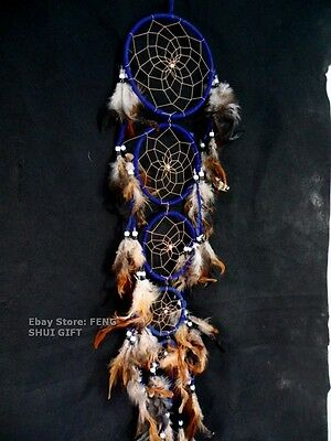 Blue Long/Big Handmade Wall Hanging Feather Dream Catcher Decoration Ornament