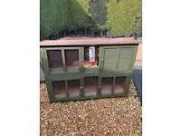 Double rabbit guinea pig hutch cage with ramp