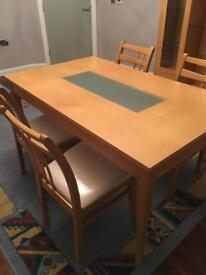 Solid beech dining table with frosted glass insert and 4 chairs