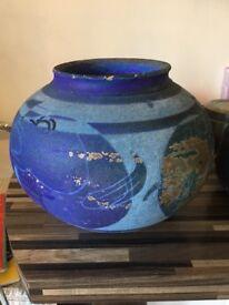 Vibrant blue-green ornamental pots x 3