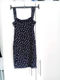 Pretty black flowered dress. £5.