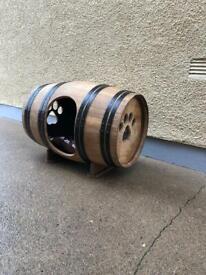 Dog house solid oak wine barrel