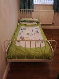 Children's beds for sale. One IKEA extendable (metal frame) . One toddler bed Little Acorns (Wood)
