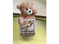 Capricorn teddy bear in bag ornament