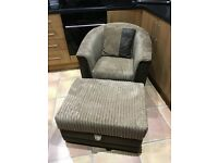 Beautiful Brown chair with matching storage puff