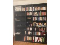 5 available black billy bookcases with extension shelf!