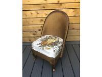 """Vintage Genuine Lloyd Loom """"Lusty"""" Bedroom Chair - Gold inc original upholstery"""