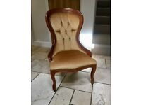 Traditional, Queen Anne Style Bedroom Chair (armchair)