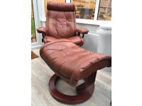1970s Leather Recliner & Footstool