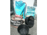 POND COMPOST GRAVEL AND POTS