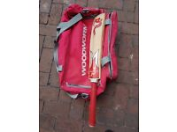 Junior Cricket Equipment - Woodworm bag and size 4 bat, plus size 5 spikes