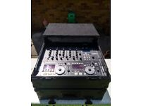 Denon DN-HC4500 DJ Disco deck and KAM mixer controller package with flight case