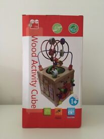 Wooden Activity Cube Toy, Ages 1-2yo
